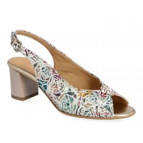 Sandały z odkrytą piętą, obcas 6,5 cm