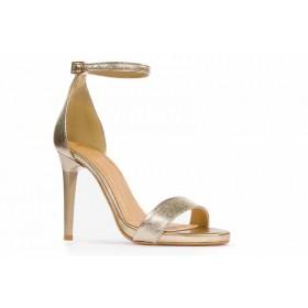 Złote sandałki na szpilce