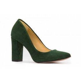 Zielone, zamszowe czółenka