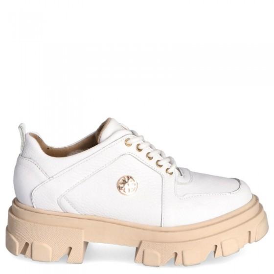 Skórzane sneakersy na wyższej platformie