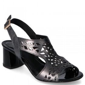 Czarne sandały na niskim obcasie